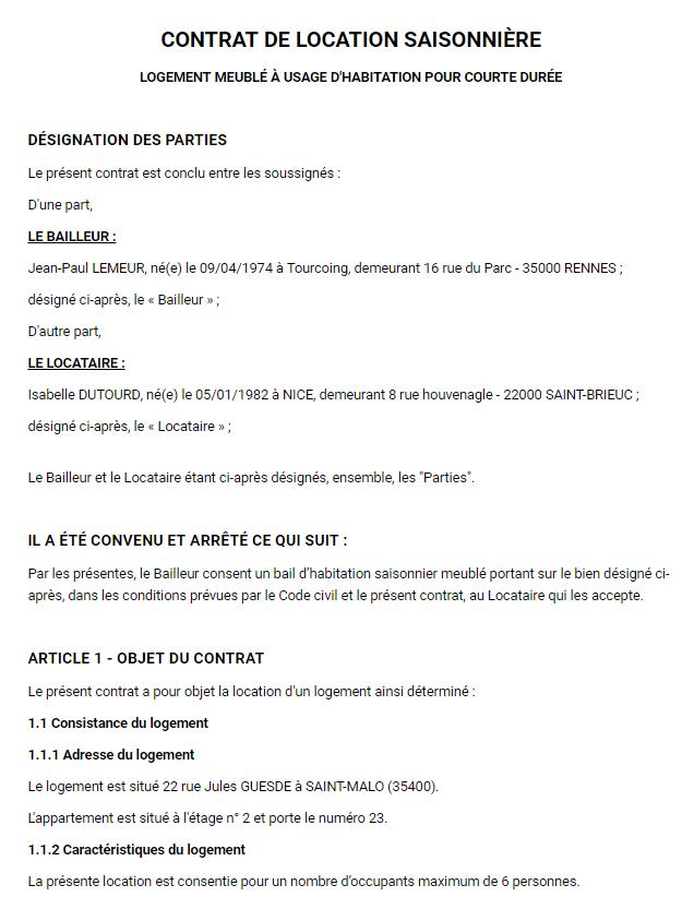Bail Saisonnier Contrat De Location Vacances Modèle Pdf