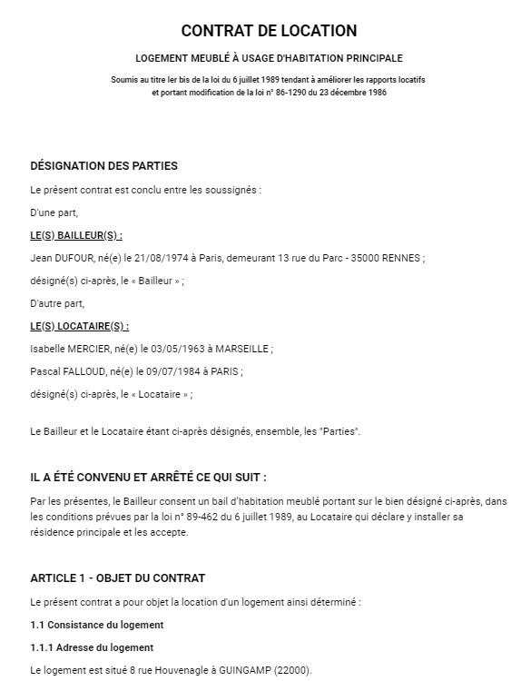Contrat De Location Meublée Modèle De Bail Meublé