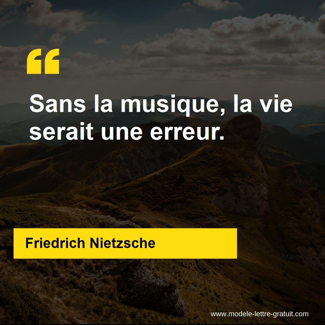 Citation Nietzsche Musique : Tenture murale « sans la musique la vie serait une erreur