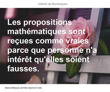 Les Propositions Mathématiques Sont Reçues Comme Vraies