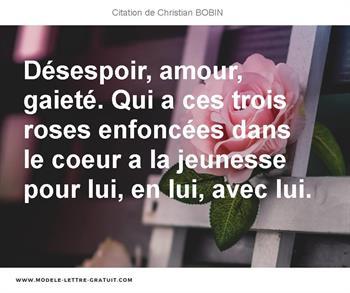 Désespoir Amour Gaieté Qui A Ces Trois Roses Enfoncées
