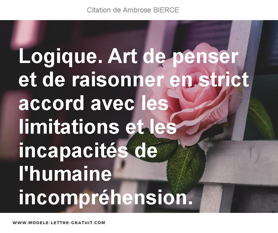 Logique Art De Penser Et De Raisonner En Strict Accord Avec